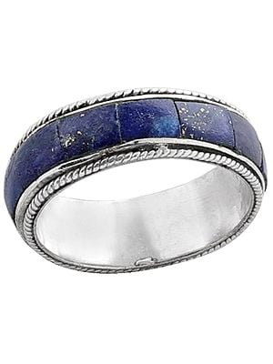 Blue Inlay Stone Ring Made in Sterling Silver
