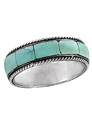 Turquoise Inlay Stone Ring Made in Sterling Silver