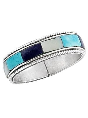 Blue, White and Turquoise Inlay Stone Ring Made in Sterling Silver