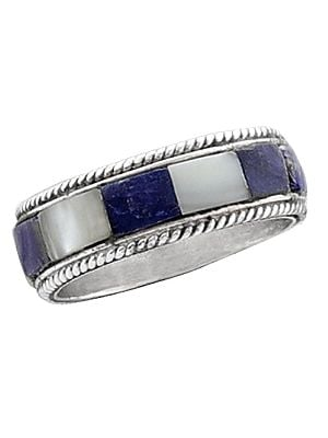 Blue and White Inlay Stone Ring Made in Sterling Silver