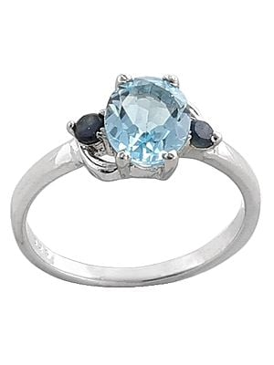 Superfine Blue Topaz with Iolite Stone Ring Made in Sterling Silver