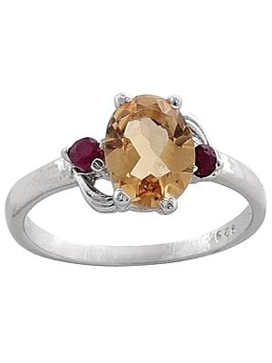 Superfine Yellow Topaz with Ruby Stone Ring Made in Sterling Silver