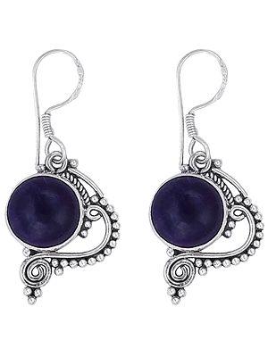 Graceful Sterling Silver Earrings Studded with Amethyst Gemstone