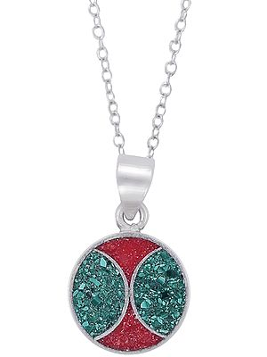 Sterling Silver Round Mandala Pendant with Red and Green Inlay