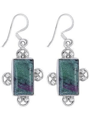 Sterling Silver Earrings Studded with Anyolite (Ruby Zoisite)