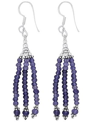 Sterling Silver Earrings with Iolite Bead Dangles