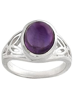 Sterling Silver Ring Studded with Amethyst Stone