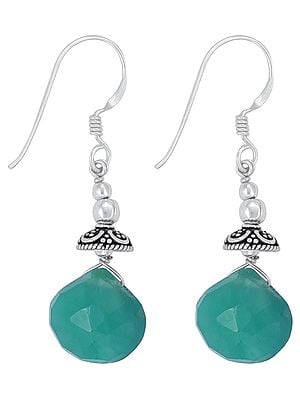 Beautiful Faceted Green Onyx Earrings Made in Sterling Silver