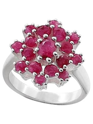 Superfine Floral Ruby Gemstone Ring Made in Sterling Silver