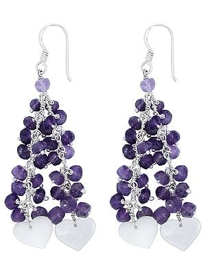 Heart Shaped Mother of Pearl Stone Dangle Earrings with Amethyst Beads