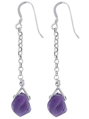 Faceted Curved Amethyst Studded Sterling Silver Earrings