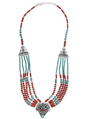 Sterling Silver Fine Necklace with Coral and Turquoise Stone