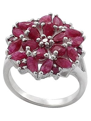 Superfine Precious Ruby Gemstone Ring Made in Sterling Silver