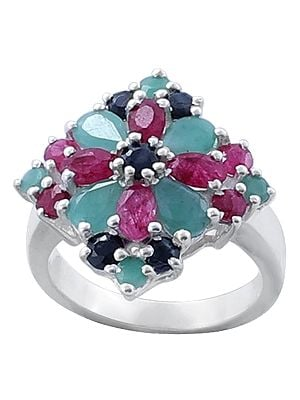 Superfine Fabulous Ruby, Emerald and Iolite Gemstone Ring Made in Sterling Silver