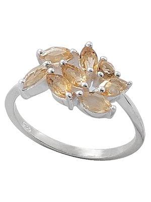 Superfine Leafy Designer Ring with Citrine Stones