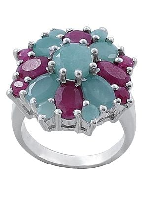 Superfine Brilliant Emerald and Ruby Gemstone Ring Made in Sterling Silver