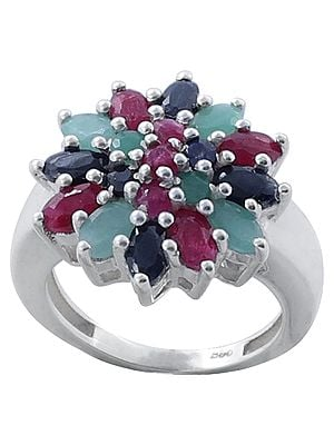 Superfine Splendid Emerald, Ruby and Iolite Gemstone Ring Made in Sterling Silver