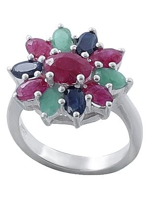 Ruby, Emerald and Sapphire Gemstone Ring in Floral Design