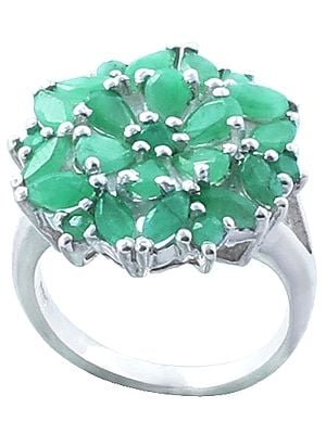 Emerald Gemstone Ring Made in Sterling Silver