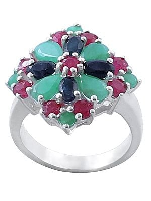 Sterling Silver Ring with Ruby, Emerald and sapphire Gemstone