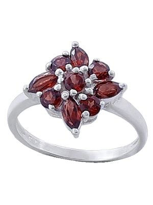 Sterling Silver Ring with Garnet Stone