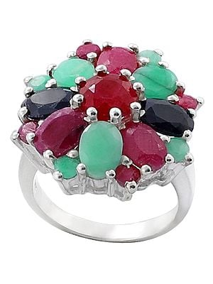 Precious Ruby, Emerald and Sapphire Gemstone Ring Made in Sterling Silver