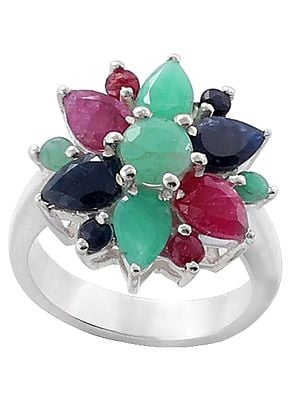 Floral Designer Ring with Ruby, Emerald and Sapphire Gemstone