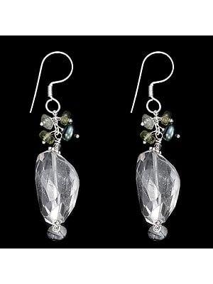 Sterling Silver Dangle Earrings with Crystal, Black Pearl, Peridot Stone