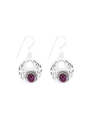 Sterling Silver Circular Earrings Studded with Amethyst Stone