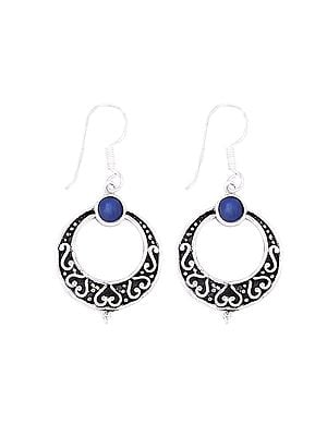 Sterling Silver Circular Earrings with Lapis Lazuli Stone
