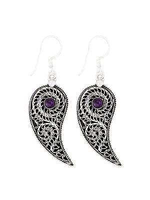Stylish Leaf Design Sterling Silver Earrings with Amethyst Stone