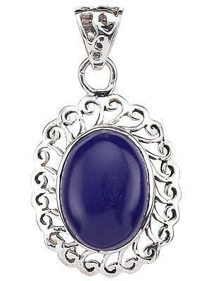 Oval Pendant of Lapis Lazuli with Lattice Border