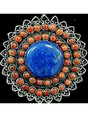 Coral Lapis Flower Pendant