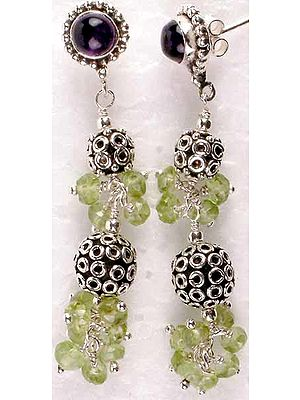 Faceted Peridot Earrings with Amethyst