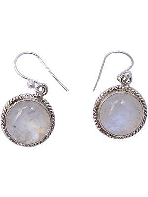 Rainbow Moonstone Earrings with Filigree Design