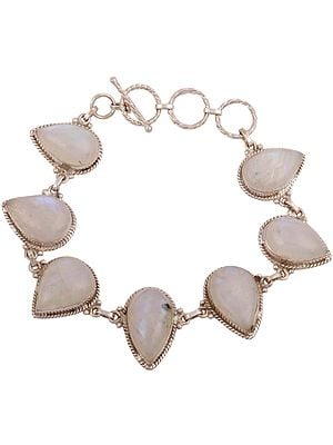 Sterling Bracelet with Tear-Drop Moonstone