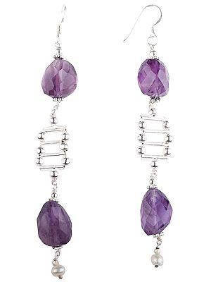 Designer Sterling Silver Earrings studded with Faceted Amethyst