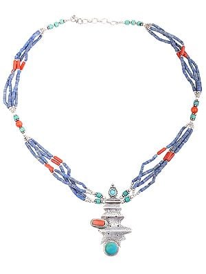 Necklace Studded By Turquoise Coral With Lapis Lazuli, Coral and Turquoise Thread