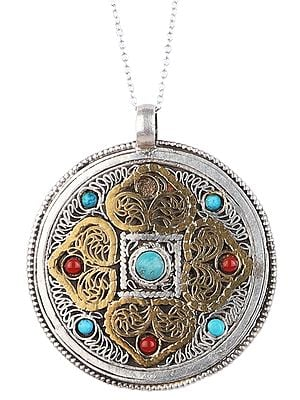 Big Mandala Pendant with Filigree from Nepal