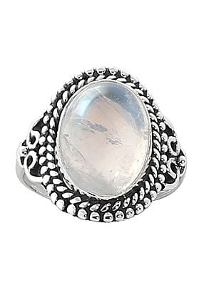 Sterling Silver Ring with Rainbow Moonstone