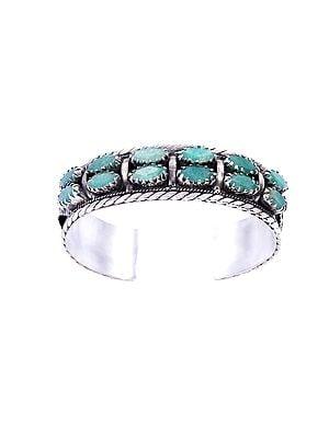 Sea-green Emerald Sterling Silver Bracelet