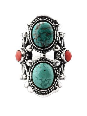 Double Turquoise and Coral Stones Sterling Silver Ring