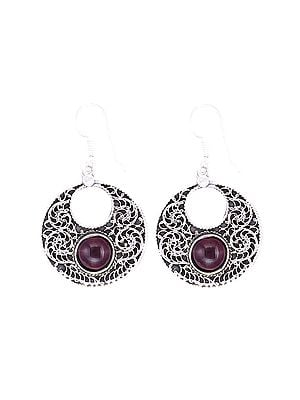 Graceful Sterling Silver Earrings Studded with Gemstone