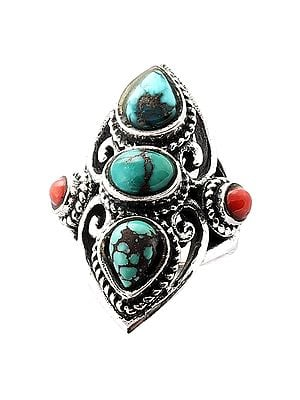 Designer Sterling Silver Ring Studded with Turquoise and Coral Stone (Big Size)