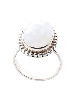 Oval Shaped Sterling Silver Ring with Rainbow Moonstone