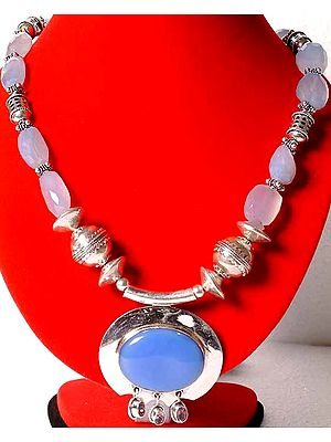 Necklace of Blue Chalcedony
