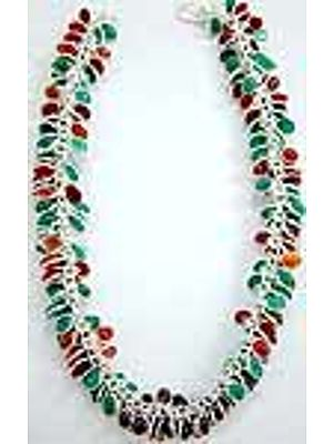 Tri-Color Bezel Necklace