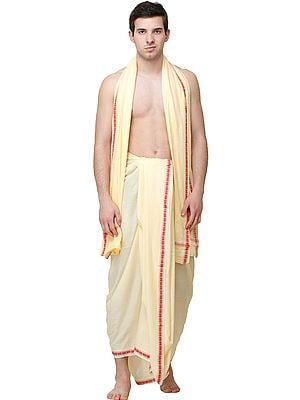 Afterglow Dhoti and Angavastram Set from Kashi with Woven Narrow Border
