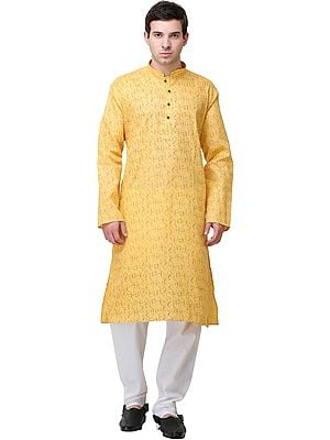 Sunset-Gold Printed Kurta with White Pajama Set