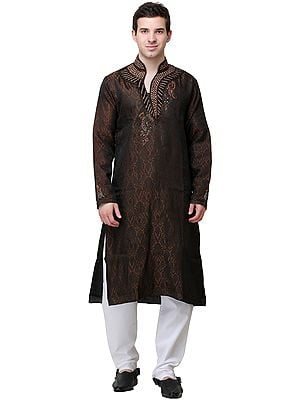 Acorn and Black Self-Weave Designer Kurta Pajama with Embellished Crystals and Beads
